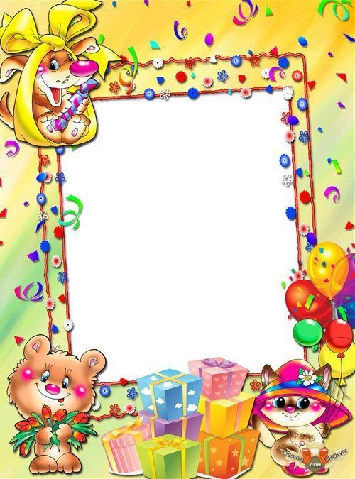 Sunny cartoon nature layout with psd frame for kids Birthday ...