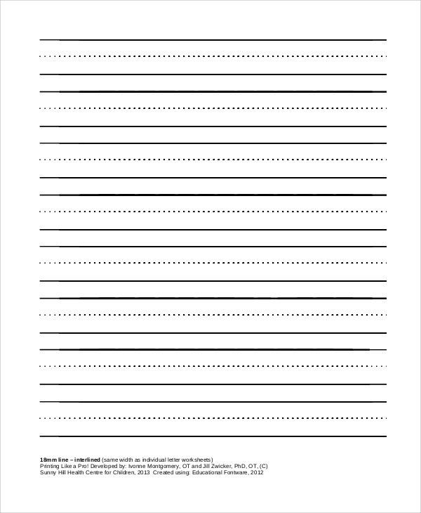 Sample White Paper. Lined-Paper-With-Interline Sample Printable ...