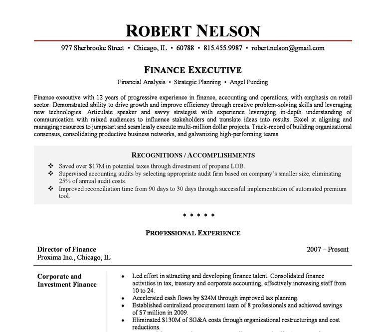 senior finance executive resume corporatewarriorscom. cfo resume ...