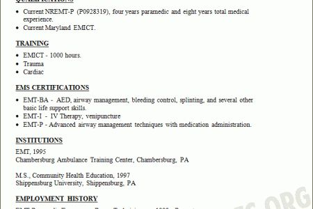 EMT Paramedic Resume Sample RESUMES DESIGN, Paramedic Resume ...