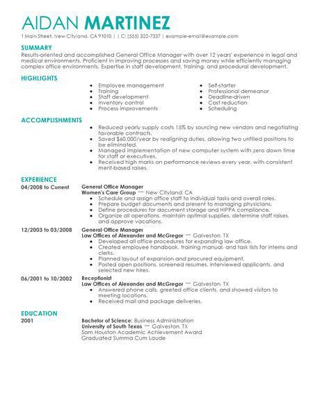 General Manager Resume - Resume Example