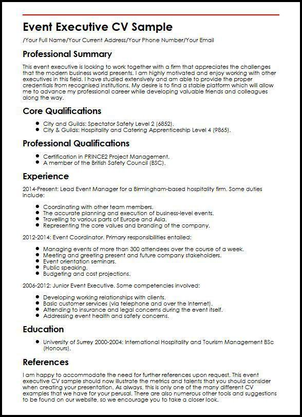 Event Executive CV Sample | MyperfectCV