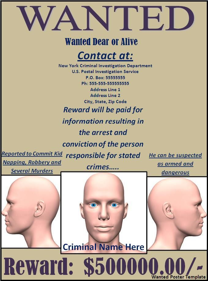 Wanted Poster Template | Free Word Templates