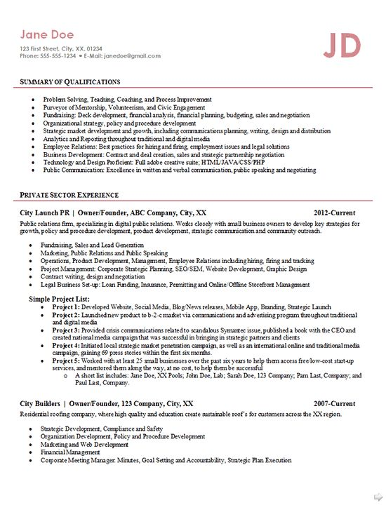 Entrepreneur Resume Example - Business Owner, Founder, Public ...