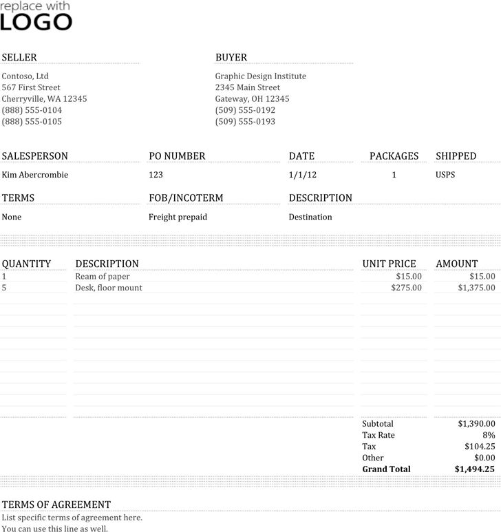 Commercial Invoice Template - Template Free Download | Speedy Template