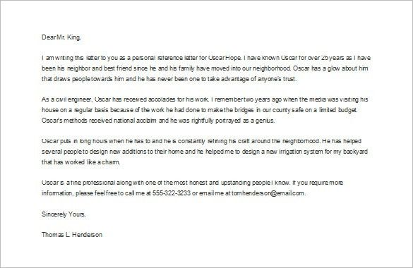 sample personal reference letter for a friend