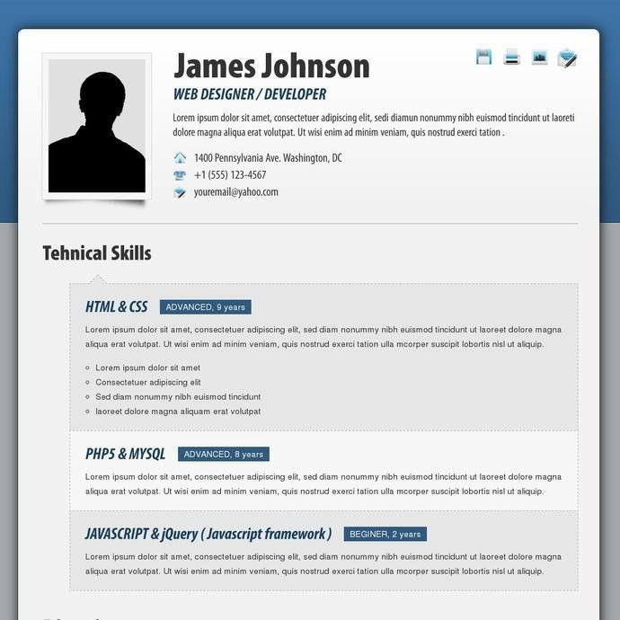 Resume Html Template Code. 20 professional html css resume ...