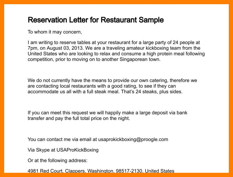 example letter making reservation - Cover Letter 4You