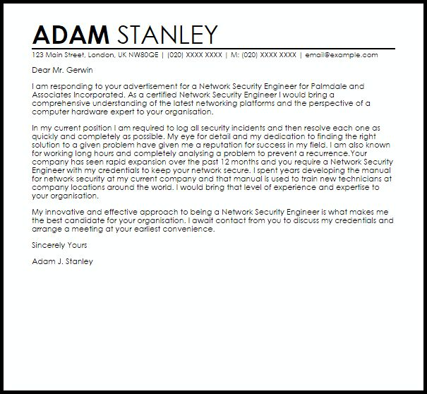network engineer cover letter examples