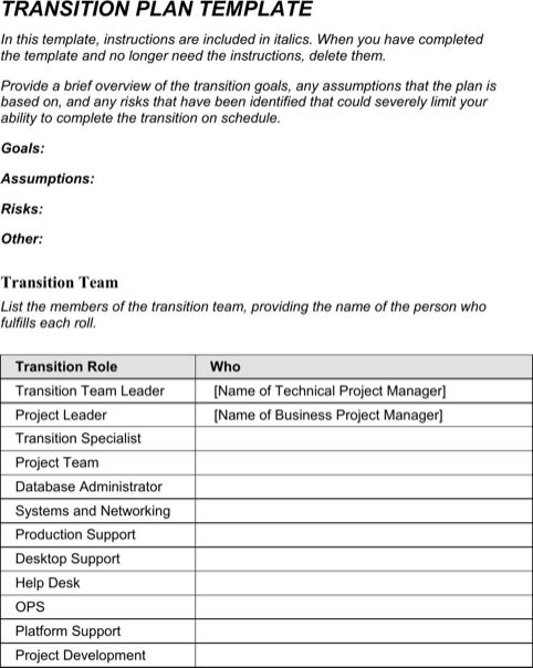 Transition Plan Template | Templates&Forms | Pinterest