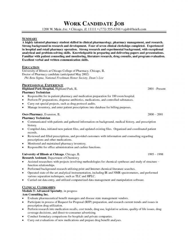 Pharmacist Resume Objective Resume Sample pharmacist resume ...