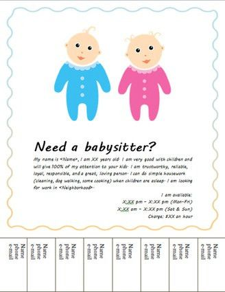 Free Babysitting flyers: templates and ideas | ...