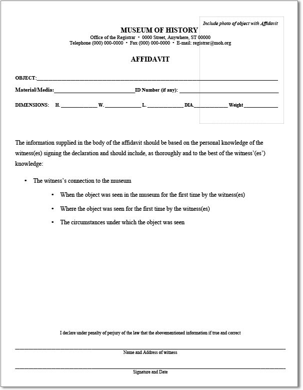 Nice Museum of History Affidavit Form Template Sample with Object ...