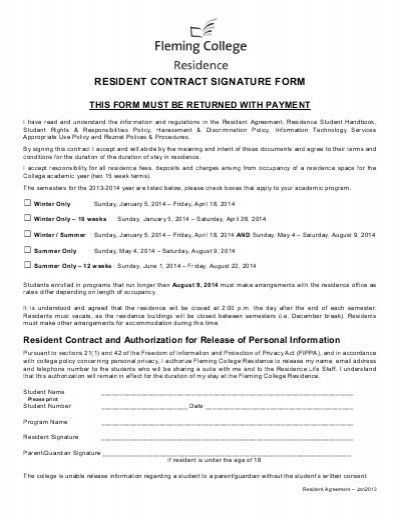 Resident Contract - Fleming College
