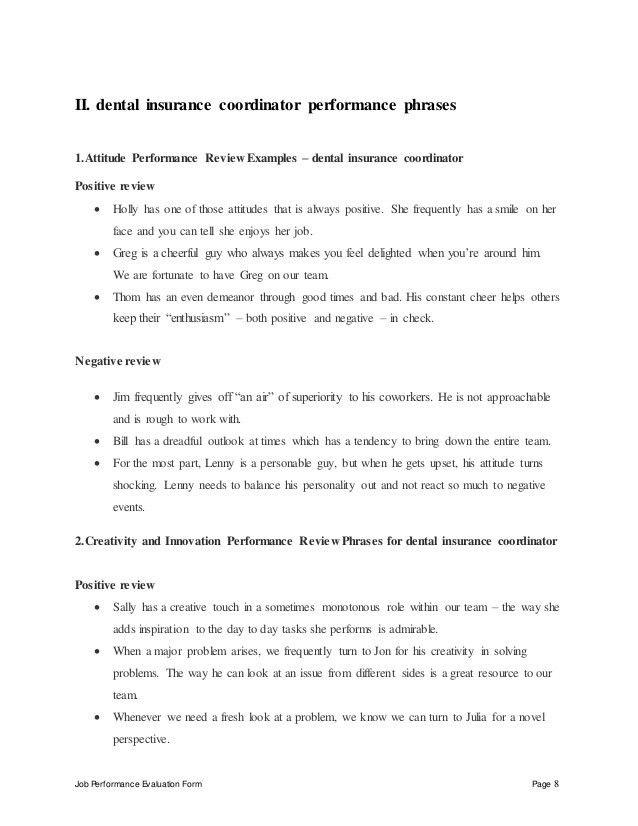 Dental insurance coordinator performance appraisal