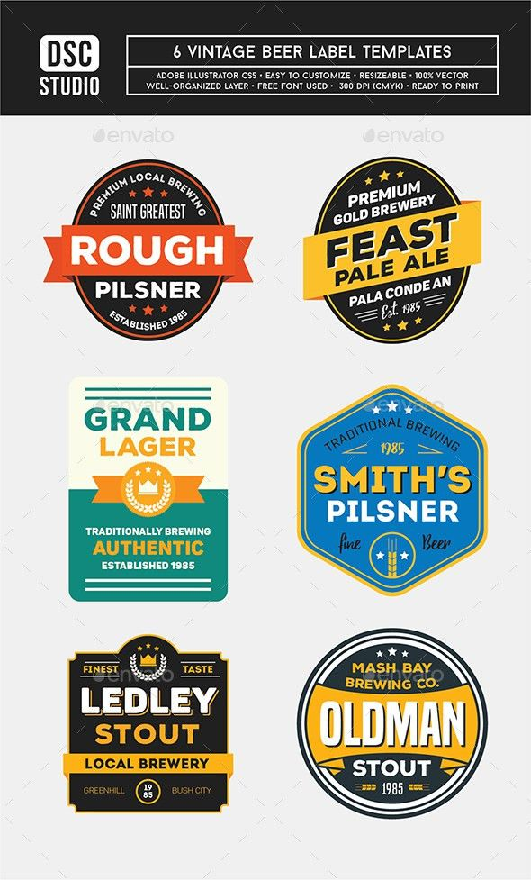 6 Vintage Beer Label by dsc_studio | GraphicRiver
