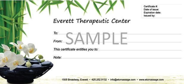 Gift Certificates available at Everett Therapeutic Center