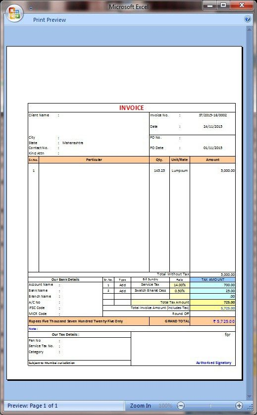 New service tax invoice with swatchh bharat cess in excel-2007+ ...