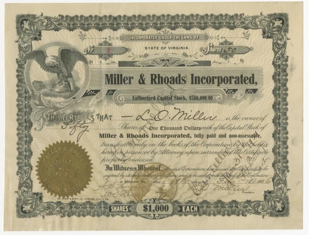 Miller & Rhoads Stock Certificate Collection