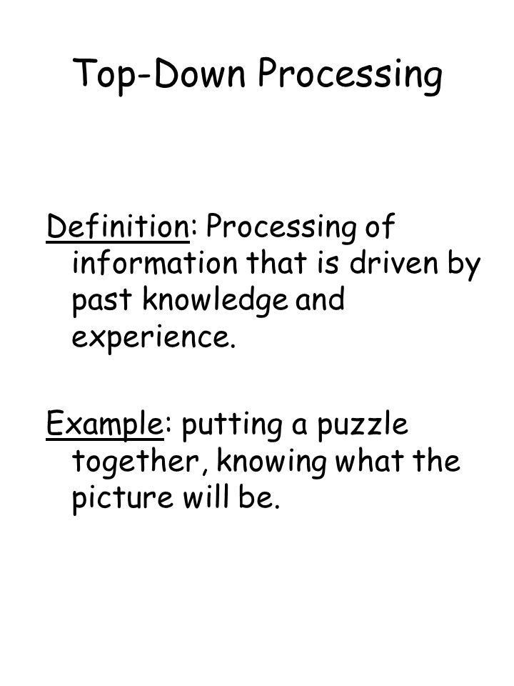 Lecture Outline Schemas Part 1 nBottom up vs. Top Down Processing ...