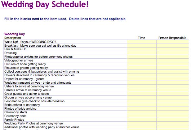 Wedding Day Schedule Template | Microsoft Excel Templates