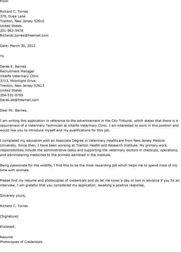 Cover Letter For Vet Assistant | The Letter Sample