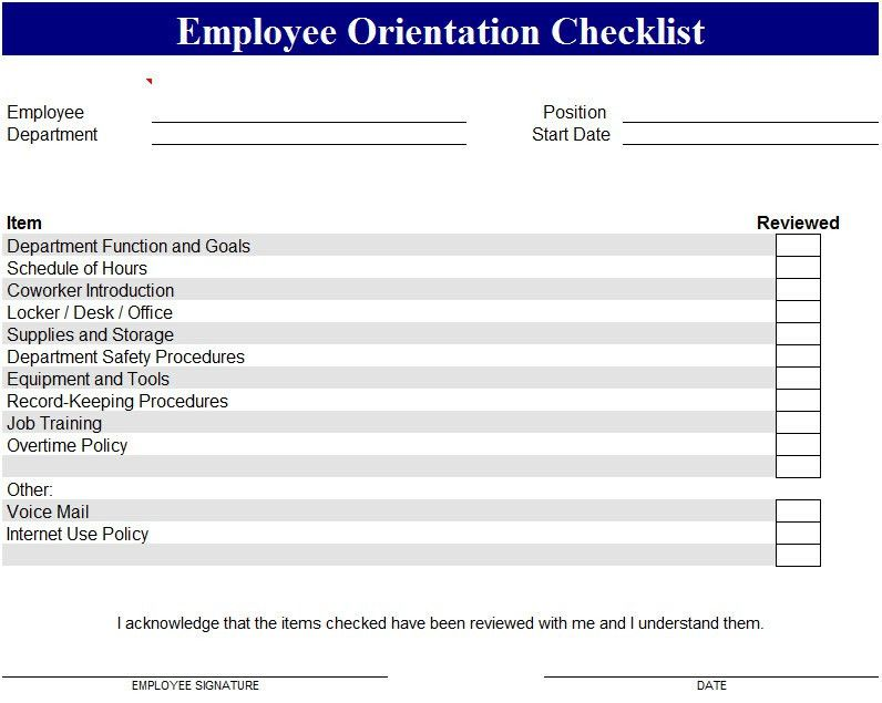 Employee Orientation Template - My Excel Templates