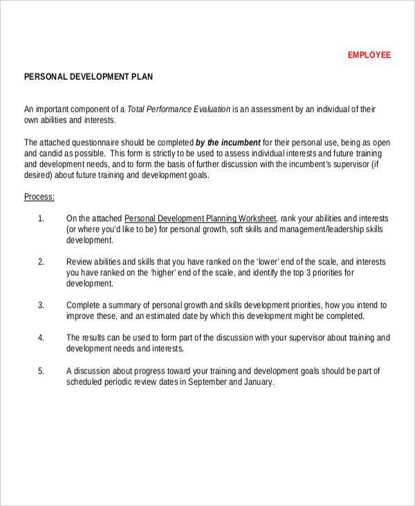 Employee Personal Development Plan Template] Individual