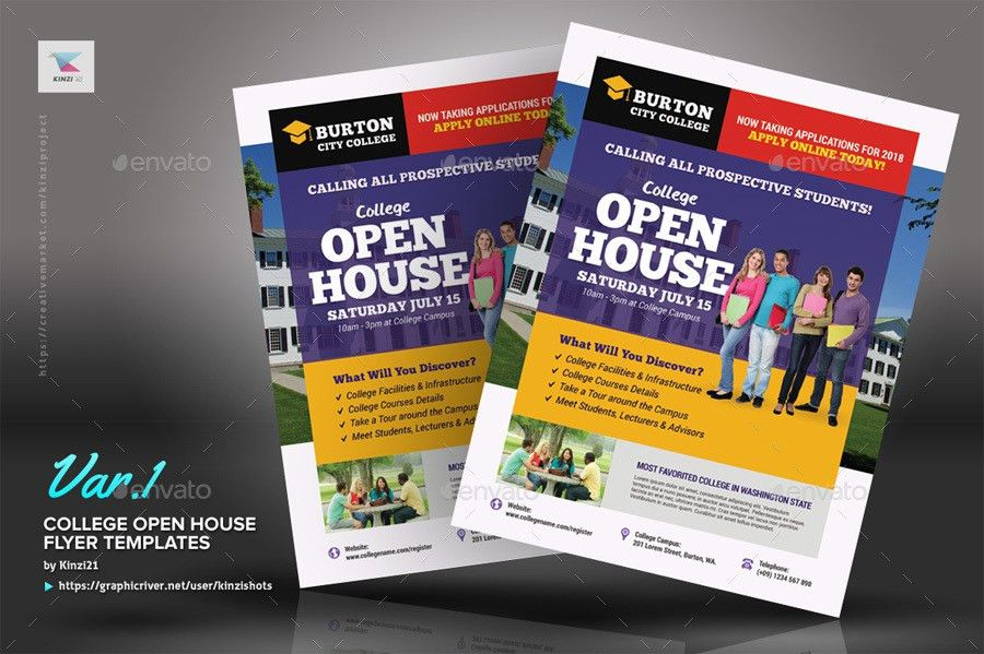 College Open House Flyer Templates by kinzishots | GraphicRiver