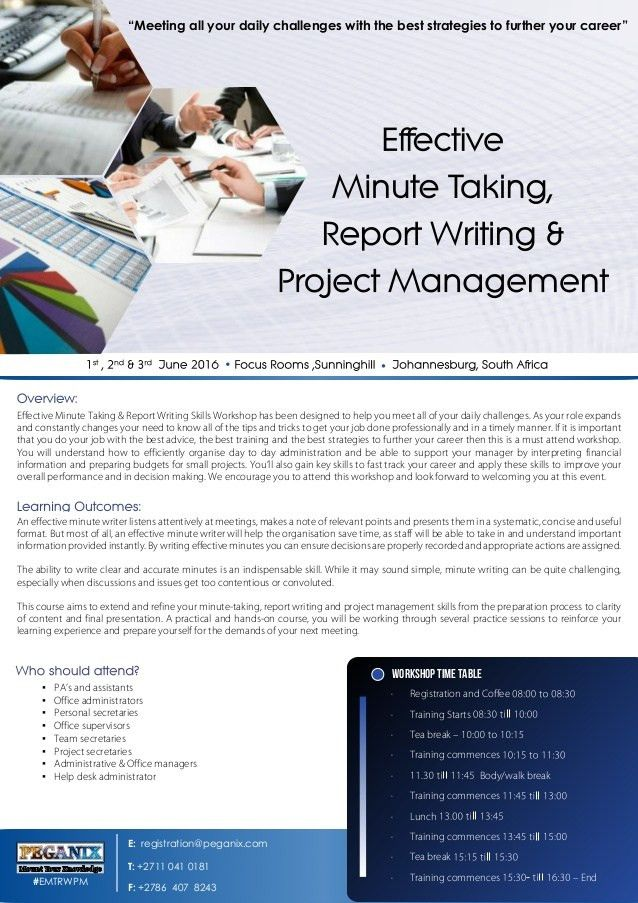Effective Minute Taking, Report Writing & Project Management - sean