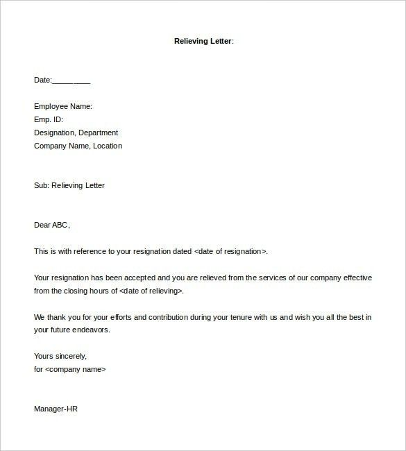 Relieving Letter Format From Employer | The Letter Sample