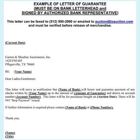 Guarantee Letter Samples - 7+ Free Guarantee Letter Formats in Word
