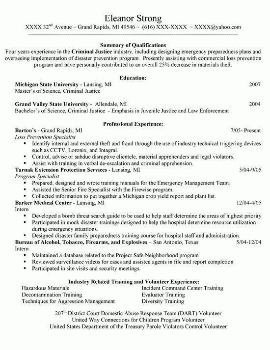 Justice Resume Example