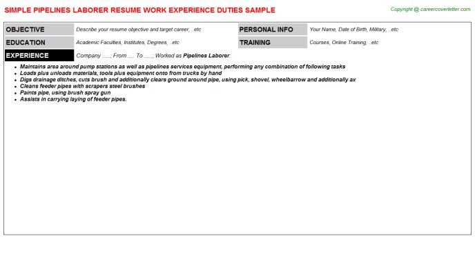 Pipelines Laborer Resume Sample