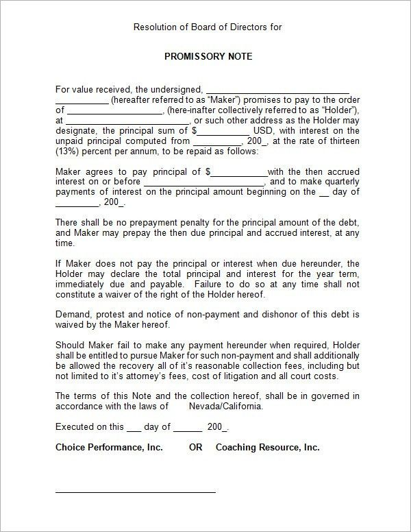 Promissory Note Template. 4+ Promissory Note Sample Template 4+ ...