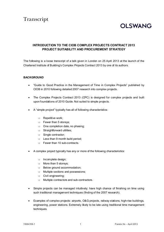 CIOB Complex Projects Contract 2013 - 25 April 2013 - Transcript of T…