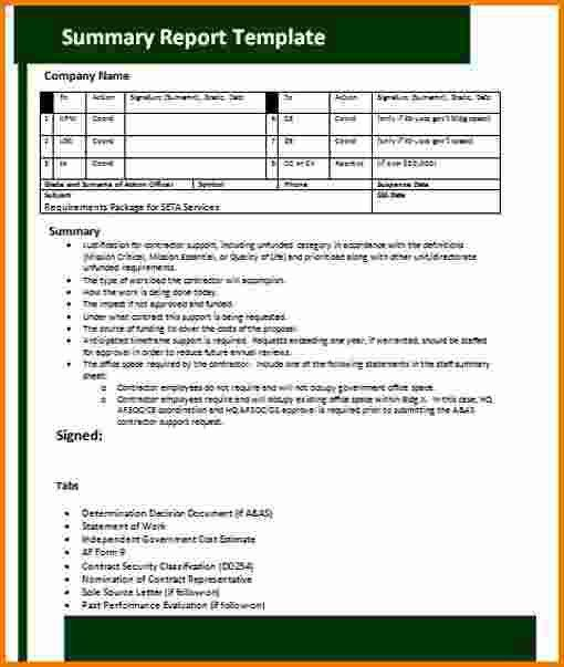 7+ Summary Report Template | Expense Report
