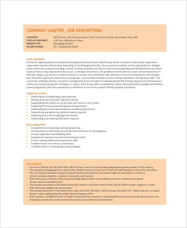 Sampe Lawyer Job Description - 8+ Examples in Word, PDF