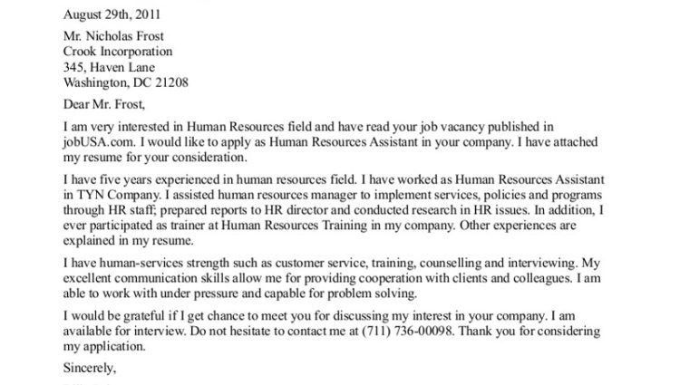 Human Resources Assistant Cover Letter Example - Writing Resume ...