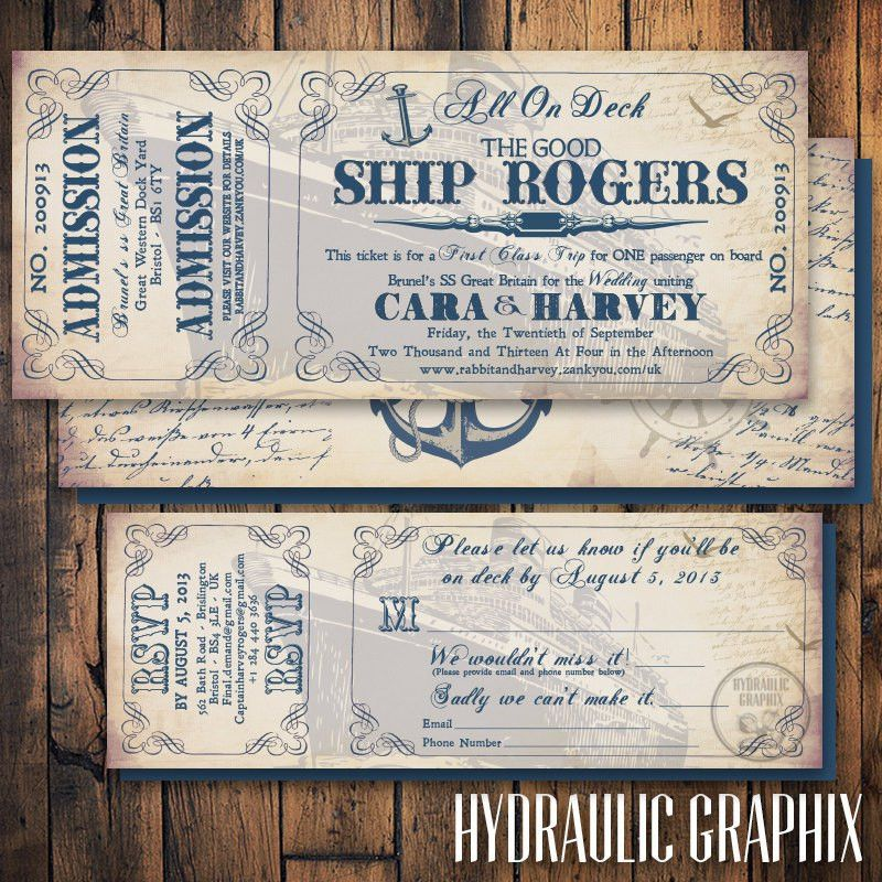Cruise Ship Ticket Invitation and RSVP Printable Ticket