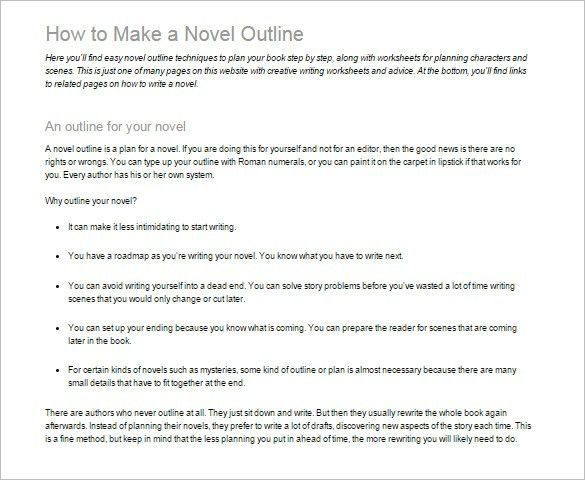 Novel Outline Template – 6+ Free Sample, Example, Format Download ...