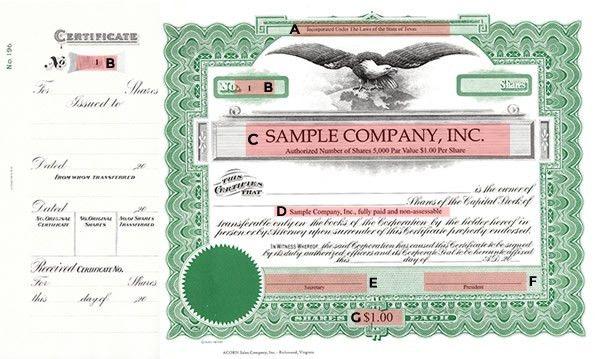 Corporate Supplies | North Carolina Stock Certificate