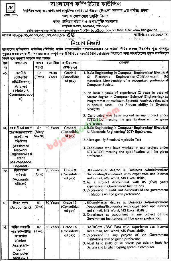 "Bangladesh Computer Council-BCC, ""Assistant Network Engineer ..."