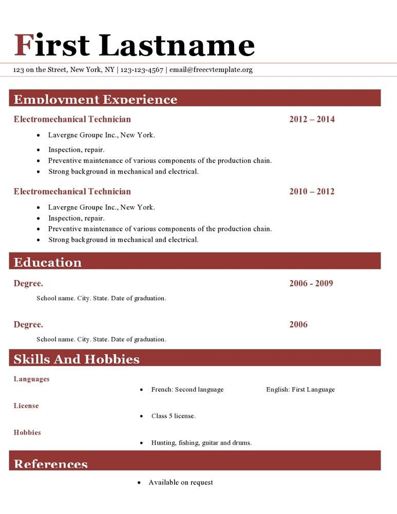 Resume cv templates #411 to 416 – freecvtemplate.org