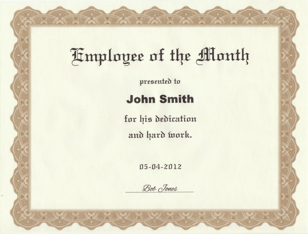 Employee of the Month Certificate Printed from Our Template   A ...