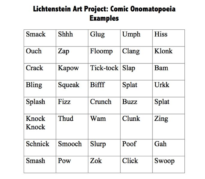 Onomatopoeia Art Lesson Plan - Mrs. Gasca's Educational Resources