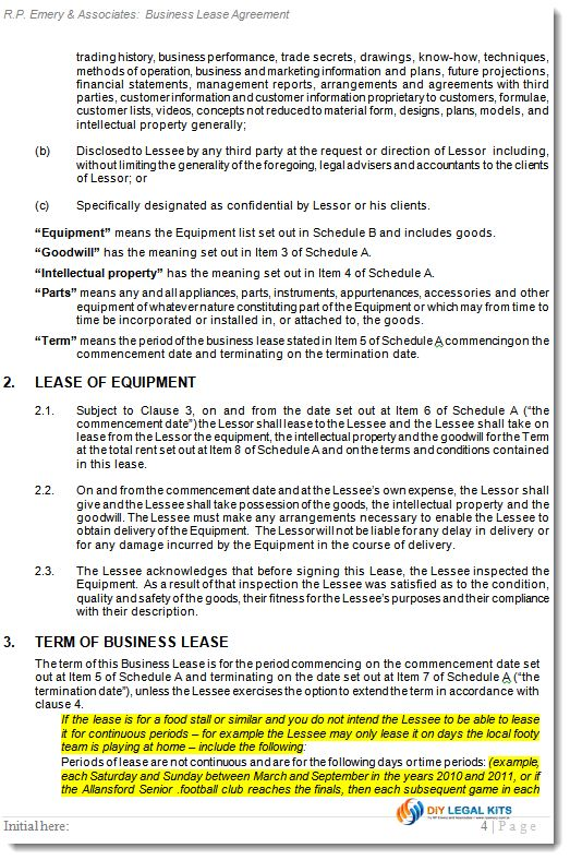 Business Lease Agreement Business Rental Contract