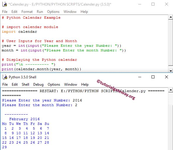 Python Calendar Example