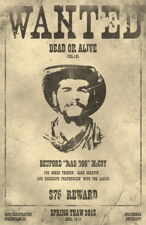Old West WANTED Poster for Event in B Games