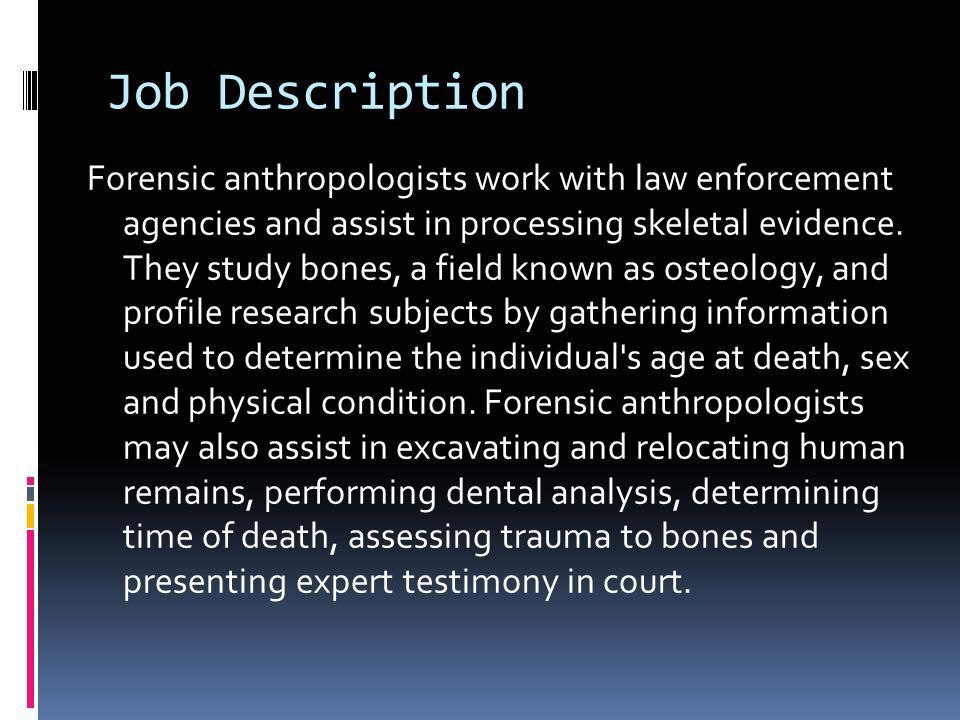 Sarah Dube November 16 th, Job Description Forensic ...
